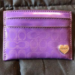 Coach purple card holder